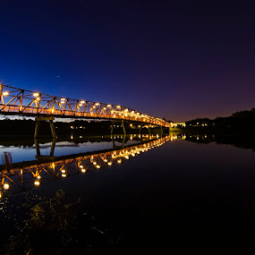 Breaking Dawn by Jashper Delloroso - Landscapes Starscapes ( lights, bluehour, dawn, night, bridge, light, river,  )