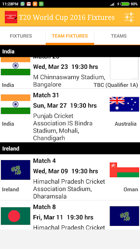 T20 World Cup 2016 Fixtures APK