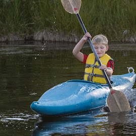 First Time Kayak by Chad Roberts - Babies & Children Children Candids ( first time, kayak, boy, float, paddle, river )