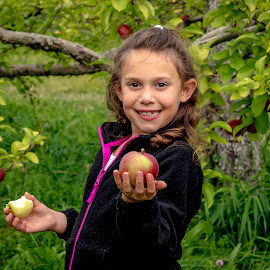 Apple picking with my niece by Debbie Quick - Babies & Children Child Portraits ( close up, apple picking, debbie quick, outdoor photography, apple orchard, girl, portrait, debs creative images, apple, niece, september, orchard, fall, outdoors, vermont, family,  )