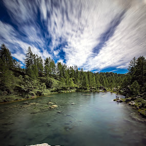 Lago delle Streghe by Alessio Coluccio - Landscapes Mountains & Hills ( clouds, sky, mountain, tree, lake, rocks )
