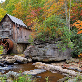 Glade Creek Grist Mill by James Reil - Buildings & Architecture Public & Historical ( fall colors, hdr, glade creek, west virginia, foliage, fall, grist mill, babcock state park )