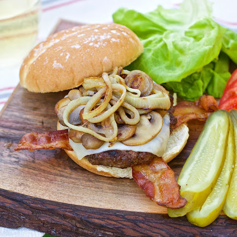 BBQ Hamburgers with Mozza Cheese, Bacon, Mushrooms & Onions