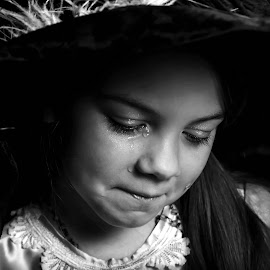 Emotional Girl by Tiffany Serijna - Black & White Street & Candid ( hats, girls, dressup, tiffanyserijna, raelyn, old fashioned, children, kids, cute, scarf, rae, portrait )