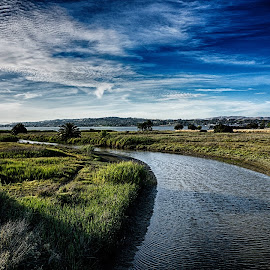 The Creek by Craig Turner - Landscapes Waterscapes ( water, clouds california, ca, martinez, sunset, creek, ocean )
