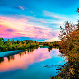 The Sky Reflecting on The Pembina by Drew May - Landscapes Waterscapes ( clouds, canada, alberta, landscape images, landscape, sky, drewmayphoto, autumn, pembina river, sunset, fall, trees, drew may photography, barrhead county, refection, river )
