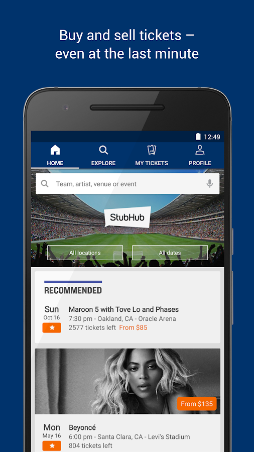 StubHub - Event tickets Screenshot 0