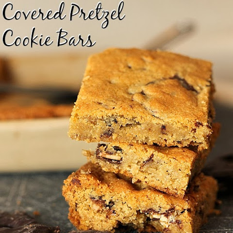 Dark Chocolate Covered Pretzel Cookie Bars