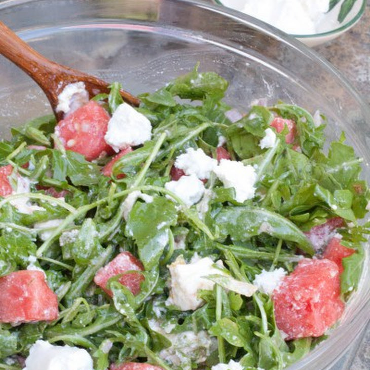 ... salad with feta watermelon and manchego stack with arugula pesto