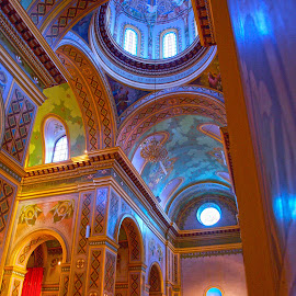 Catedral de Santa Ana, Ecuador by Richard Duerksen - Buildings & Architecture Places of Worship ( altar, church, blue, colors, cathedral, gold, nave )