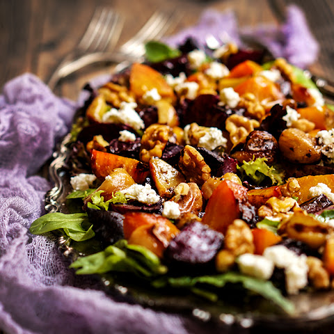 Roasted Beet Salad With Caramelized Garlic, Walnuts And Goat Cheese