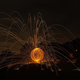 Fire Ball by Erik Bosman - Digital Art Things ( city scape, creative lighting, night, sparks, fire )