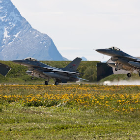 F-16 takes off from the military airport of Bodø by Kenneth Pettersen - Transportation Airplanes ( airforce, f-16, royal, norwegien, bodø, norway )