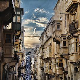 MALTA VALLETTA STREET by Gianluca Presto - Buildings & Architecture Homes ( home, houses, la valletta, malta, sunset, street, valletta, architectural, architectural detail, historic district, architecture, balcony, malta island )