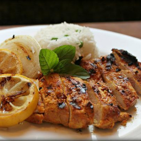 Grilled Tandoori Chicken With Grilled Onions And Lemons