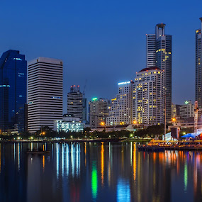 Reflection by Waraphorn Aphai - Buildings & Architecture Office Buildings & Hotels ( water, bangkok, reflection, night, queen sirikit )