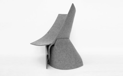 Indoor lounge chair made of 1 square sheet of felt