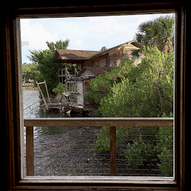 Old House by Edward Gold - Digital Art Places ( digital photography, old house, textured, framed, window, water, digital art,  )