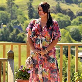 Lori by Stephen Crawford - Wedding Other ( home, lori, 70-200 lens, dress, wedding, family, sunny, summer, back door, hair, decking,  )