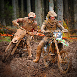 Muddy Duel by Marco Bertamé - Sports & Fitness Motorsports ( curve, turn, bike, mud, rainy, motocross, fight, motorcycle, clumps, race, duel, competition,  )