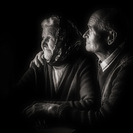 Love is forever by Nicolai Cebotari - People Couples ( hug, black and white, together, looking, love, two, forever, hands, woman, serenity, couple, elderly, man )