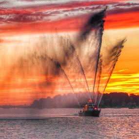 Fireboat  by Ann Goldman - Landscapes Sunsets & Sunrises ( #sunset #fireboat #summer #summertime #beach,  )