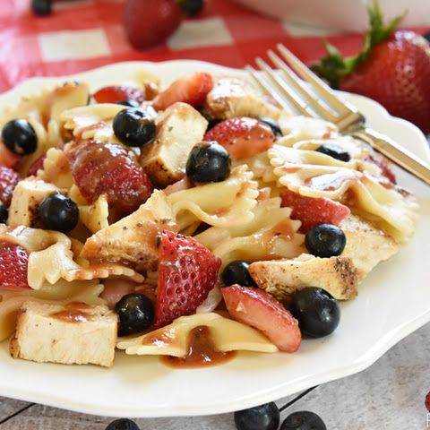Chicken Berry Pasta Salad with Strawberry Balsamic Vinaigrette