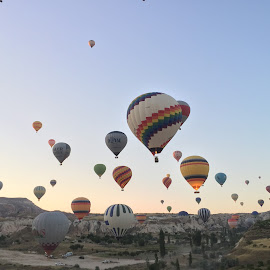 Balloons in the Sky by Anissa Meghji - Landscapes Travel ( hot air balloon, beautiful, sunrise, turkey, cappadocia )