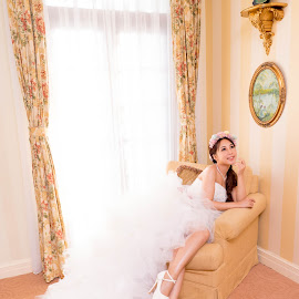 Bride  by Billy C S Wong - Wedding Bride & Groom ( windows, hotel, bride and groom, bride, bride groom )