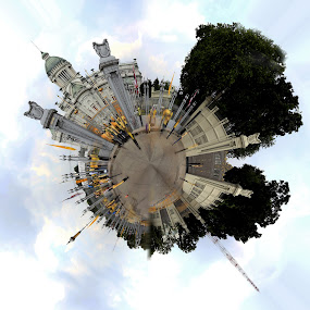 Planet Pano#1 by Asher Lwin - City,  Street & Park  City Parks ( planet panorama, building, bangkpk, sky, thailand, panorama )