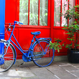 Bike and door by Gérard CHATENET - City,  Street & Park  Street Scenes
