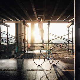 Kunstradfahrer by Norbi Whitney - Sports & Fitness Other Sports ( urban, bike, acrobat, lines, shadows )