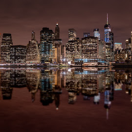 Manhattan Mirrored by Brian Pex - City,  Street & Park  Skylines ( lights, reflection, skyline, buildings, manhattan, cityscape, new york, city )