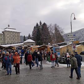 Christmas market in Einsiedeln by Serguei Ouklonski - City,  Street & Park  Street Scenes ( benedictine, male, street, christmas, people, seazon, winter, market, happy, monastery, snow, switzerland, crowd, einsiedeln, schwyz, man )