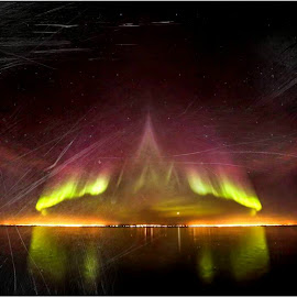 AUrora Borealis, Iceland. by Hafsteinn Kröyer Eiðsson - Digital Art Places ( reflection, scratches, waterscape, aurora borealis, cityscape, landscape, digital, canon eos, lights, night art, eos, night photography, sky view, digital art, city lights, skyscape, samyang, edited, purple, green, aurora, art, edit, nightscape, scratched, red, night view, lg, artistic, reflect )