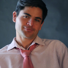 Jose - Pink Tie by Gary Mergelkamp - People Portraits of Men ( male, portrait, eyes )