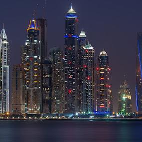 Desert Marina by Walid Ahmad - City,  Street & Park  Night ( dubai, uae, night, marina )