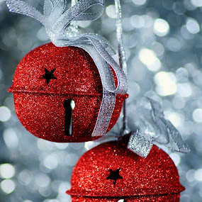 Sleigh Bell by Sondra Sarra - Artistic Objects Other Objects ( red, silver, bells, christmas, bows, pwcbells,  )