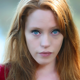 by Stephen Goodhue - People Portraits of Women ( ginger, blue eyes, redhead, vermont, red top,  )