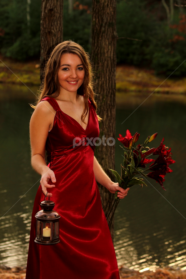 Bridesmaid with flowers... by Freda Nichols - Wedding Other ( water, lantern, girl, red, dress, woman, flowers, women, lady )
