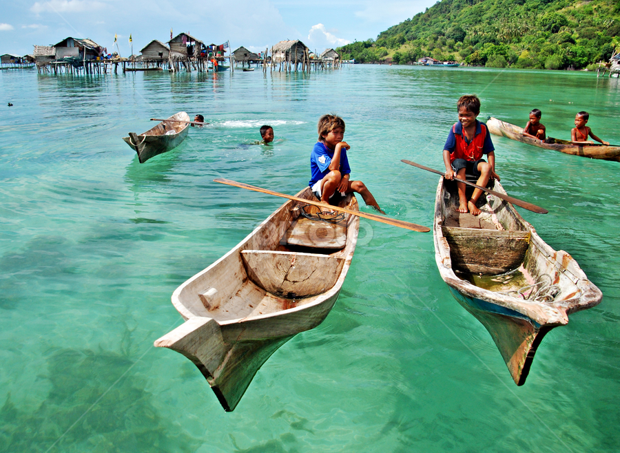 Heaven on earth by Joy Chow - Landscapes Travel ( sampan, sea, kids )