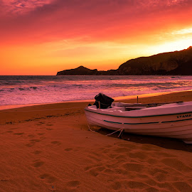 Sunset in Corfu by Łukasz Rogalski - Landscapes Sunsets & Sunrises ( corfu, greece, corfu greece, sunset, beach )