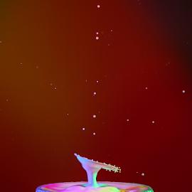 Milk Splash by Nancy Merolle - Abstract Water Drops & Splashes ( milk splash, milk drip splash, splash, drops, artistic object )