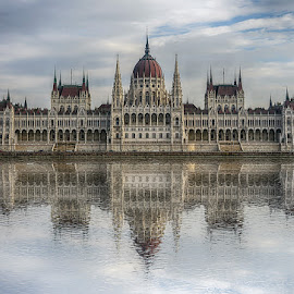 Budapest Parliament by Katherine Rynor - Buildings & Architecture Public & Historical ( parliament, reflection, budapest, danube, river )