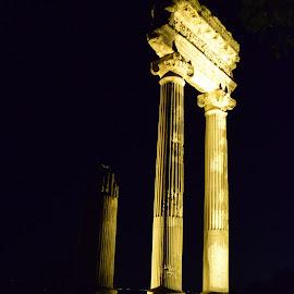 roman ruins by Ester Ayerdi - Buildings & Architecture Public & Historical ( nyon, columns, column, night, architecture, roman ruins )
