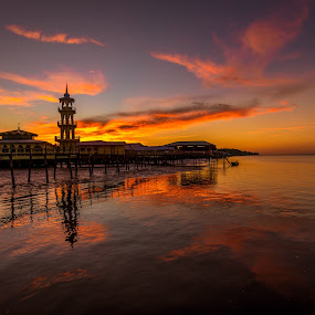 Fire on the sky  by Ted Khiong Liew - Landscapes Sunsets & Sunrises ( water, reflection, sunset sky, sunset glow, mosque, sunset, sea )