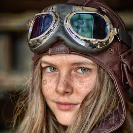 by Marco Bertamé - Babies & Children Child Portraits ( looking, blond, goggles, long, hair, steampunk, hat, eyes )