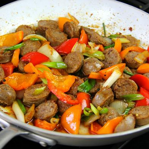 Breakfast Sausages With Bell Peppers.