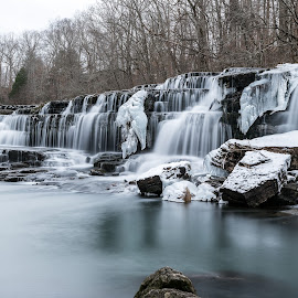 Blue Hole Falls - Cold As Ice by John Ray - Landscapes Waterscapes ( vertical, waterfalls, bright, icicles, frost, stone, rock, travel, flow, long, cold, nature, tree, snow, weather, ice nd 1000, motion, duck river, wild, tamron 70-200 2.8, white, wide, old stone fort state park, environment, winter, season, le, outdoors, scene, trees, tamron 24-70 2.8, manchester, natural, exposure, stream, icy, waterfall, state, beauty, icicle, landscape, frozen, d750, ice, creek, long exposure, nikon, wintry, 10 stop nd filter, water, park, flowing, beautiful, tennessee, scenic, wilderness, nikon d750, blue hole falls, blue, freeze, cascade, falls, background, outdoor, fall, scenery, river )