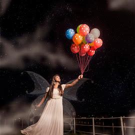 Let me Fly by Sam Symon - Digital Art People ( angel, fairy tale, fly, gilr, balloon, portrait,  )